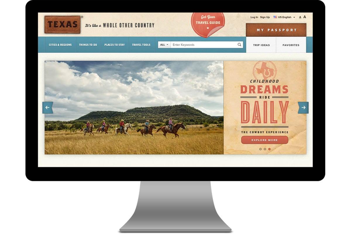 Texas Tourism Travel Marketing Case Study Website Design